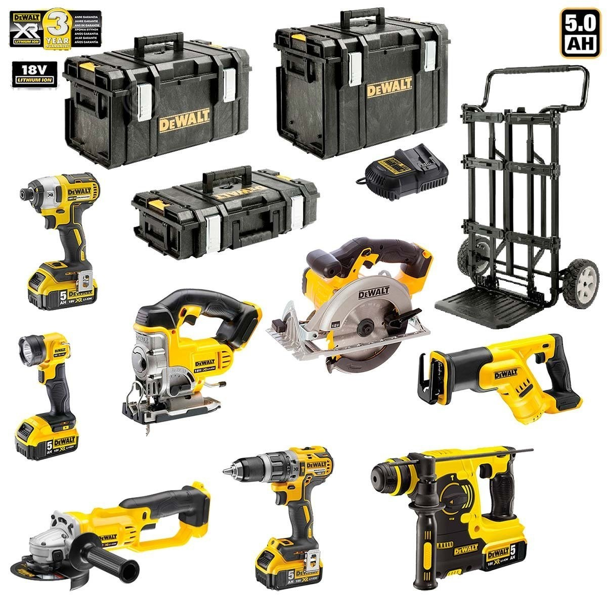 dewalt pack 8 outils lectroportatifs dck xp8mp4 4 x5 0ah chargeur 3 mallettes de. Black Bedroom Furniture Sets. Home Design Ideas