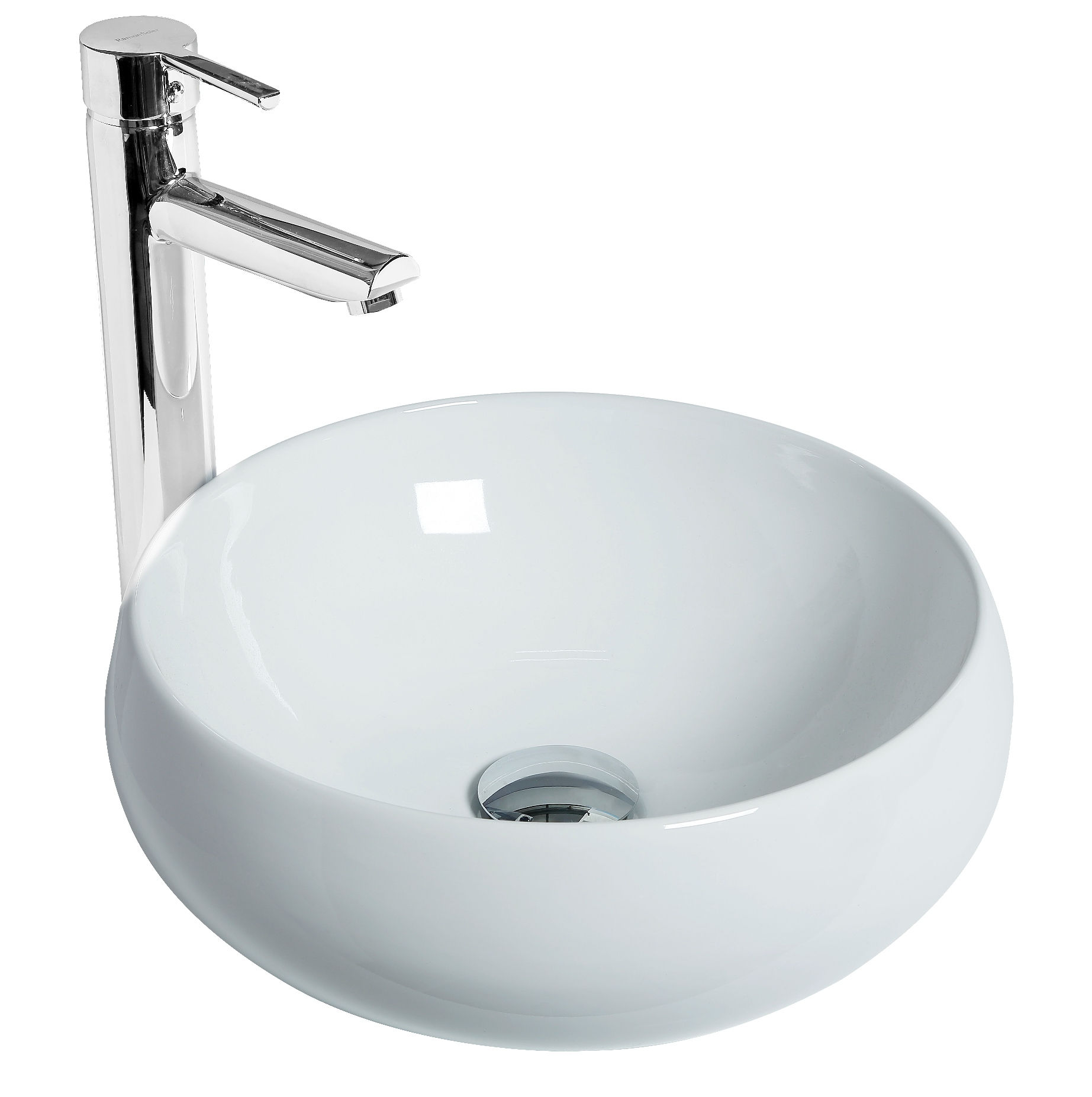 Discac Vasque Poser Ronde Galet Couleur Blanc Distriartisan