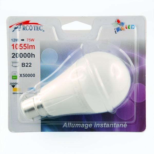 arcotec ampoule led b22 12 watt eq 75 watt couleur eclairage blanc froid distriartisan. Black Bedroom Furniture Sets. Home Design Ideas