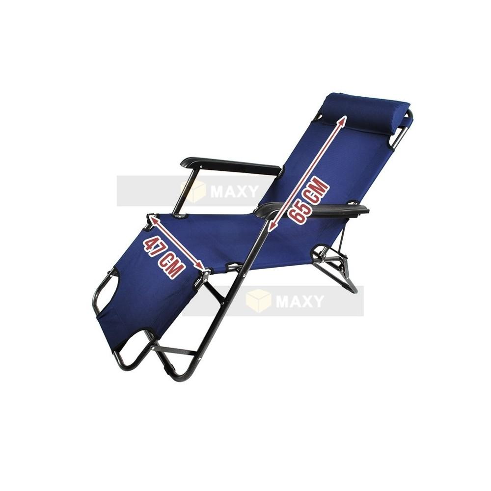 transat chaise longue jardin plage 3 positions bleu marine - Chaise Longue Jardin