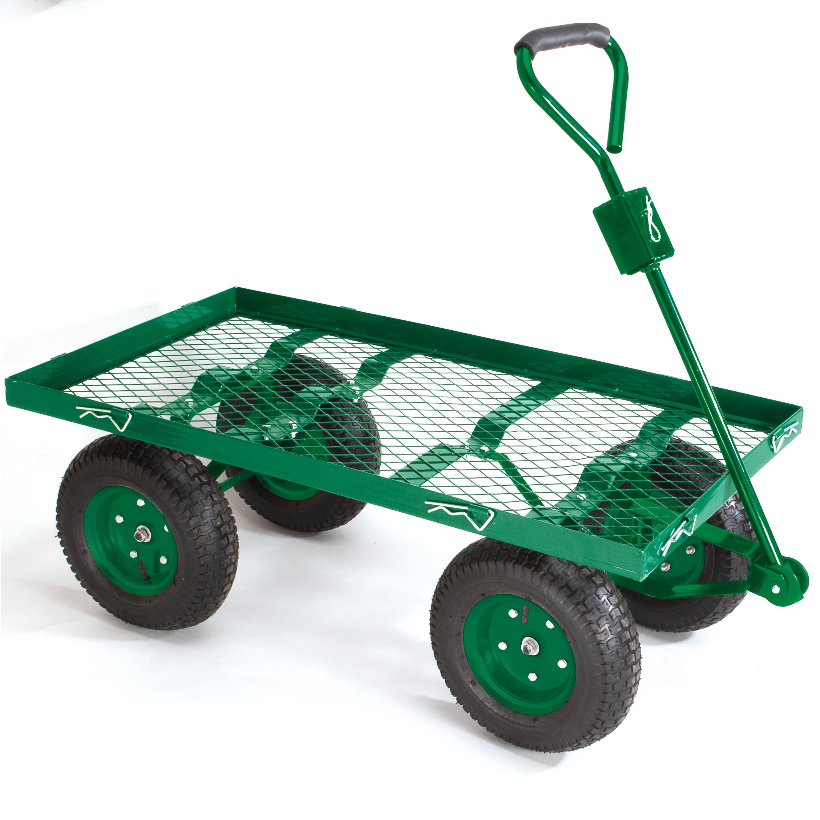 Chariot de jardin bâché grillagé 7 roues - Distriartisan
