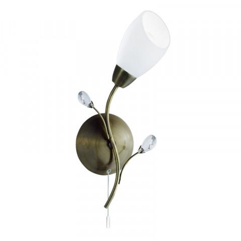 Applique gardenia, en laiton antique, verre blanc et cristal