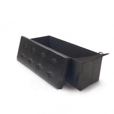 Ose Banc Coffre De Rangement Simili Cuir Noir L70 X L38 X P38