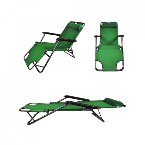 Transat chaise longue jardin plage 3 positions vert