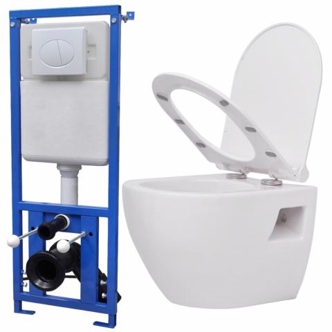 vidaXL - vidaXL Toilette suspendue au mur avec réservoir ...