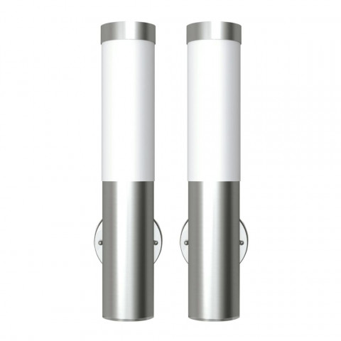 En Acier Vidaxl 2 Appliques Murales Cylindriques Inoxydable FulJcT3K1