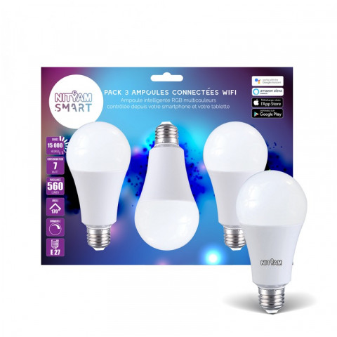 Nityam Kit De 3 Ampoules Led Wifi Rgbw Compatible Amazon Alexa