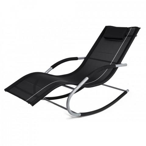 Transat à bascule jawa rock fauteuil piscine jardin terrasse noir