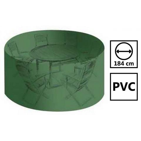 Housse salon de jardin pvc ronde diamètre 184 cm - hauteur 120 cm avec  œillets - couleur verte - haute résistance Univers Du Pro
