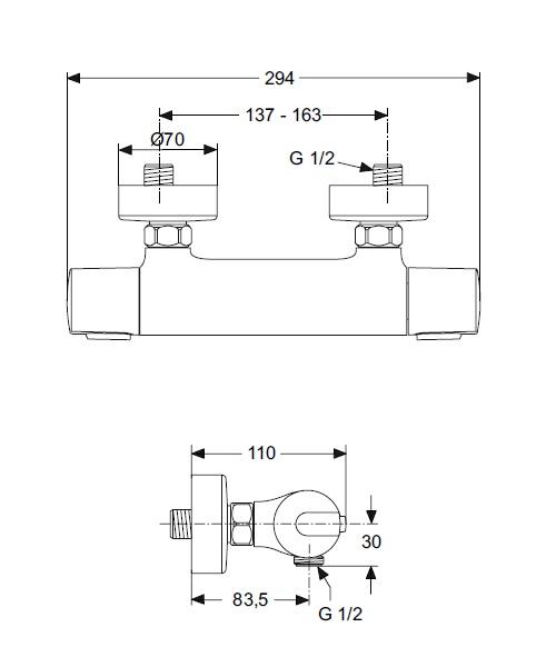 mitigeur douche mural thermostatique ceratherm 100 ideal standard distriartisan. Black Bedroom Furniture Sets. Home Design Ideas