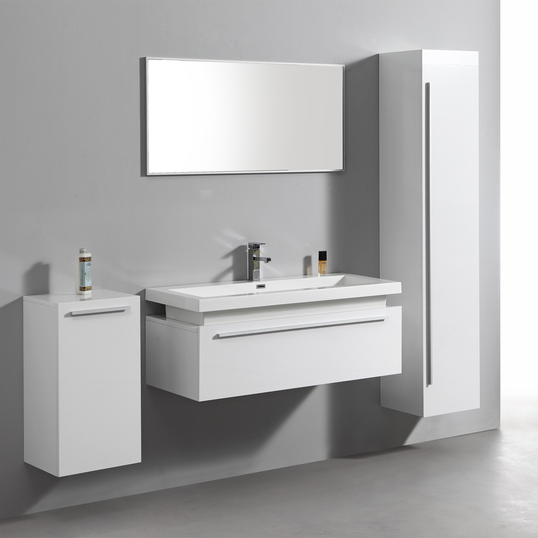 Import diffusion ensemble complet meuble de salle de bain rio 1 vasque 1 miroir blanc - Meuble salle de bain complet ...