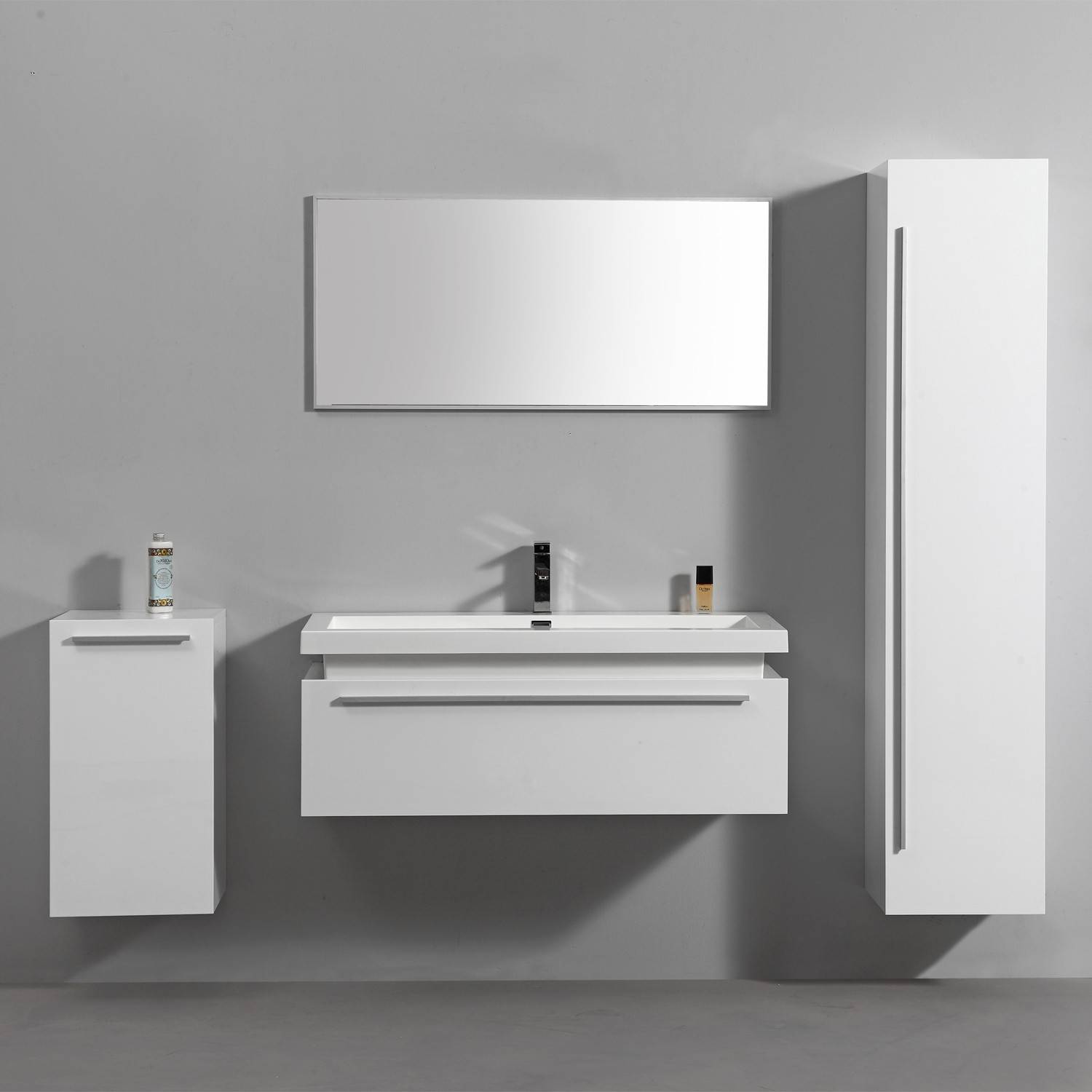 import diffusion ensemble complet meuble de salle de bain rio 1 vasque 1 miroir blanc. Black Bedroom Furniture Sets. Home Design Ideas
