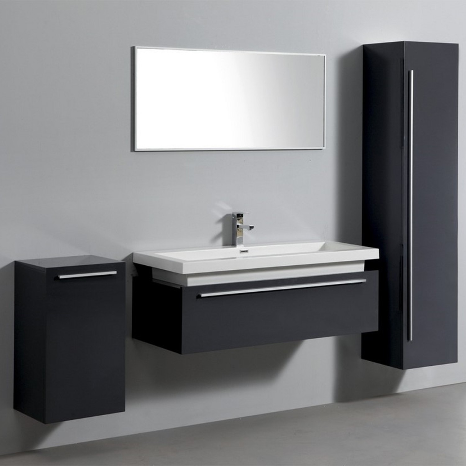 import diffusion ensemble complet meuble de salle de bain rio 1 vasque 1 miroir gris laqu. Black Bedroom Furniture Sets. Home Design Ideas