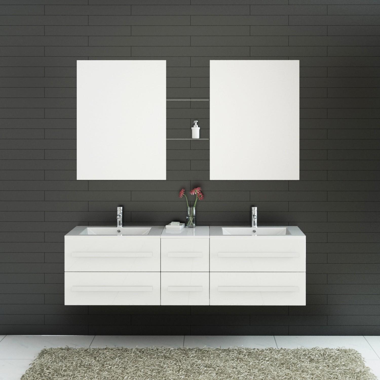 Import diffusion ensemble complet meuble salle de bain eval 2 vasques 2 miroirs distriartisan - Meuble de salle de bain complet ...