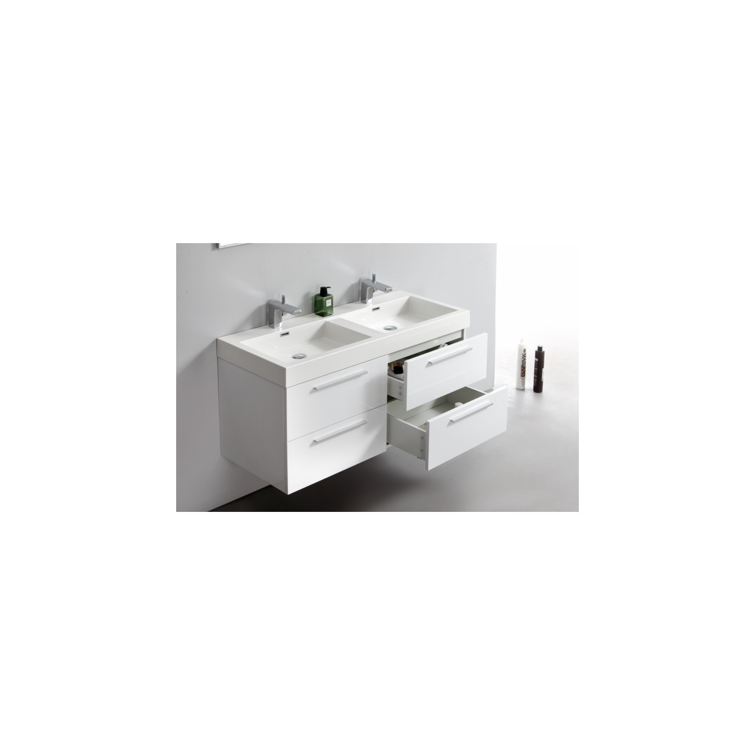 import diffusion ensemble meuble salle de bains double vasque 120 cm ideo blanc laqu. Black Bedroom Furniture Sets. Home Design Ideas