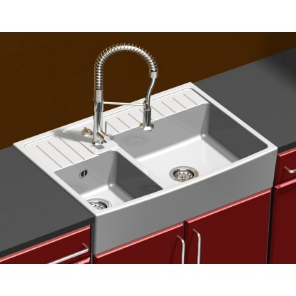evier c ramique sarreguemines timbre d 39 office 2 bacs. Black Bedroom Furniture Sets. Home Design Ideas