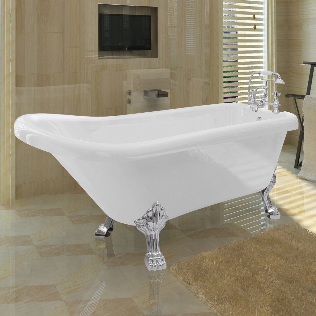 vidaxl vidaxl baignoire sur pieds en acrylique avec. Black Bedroom Furniture Sets. Home Design Ideas