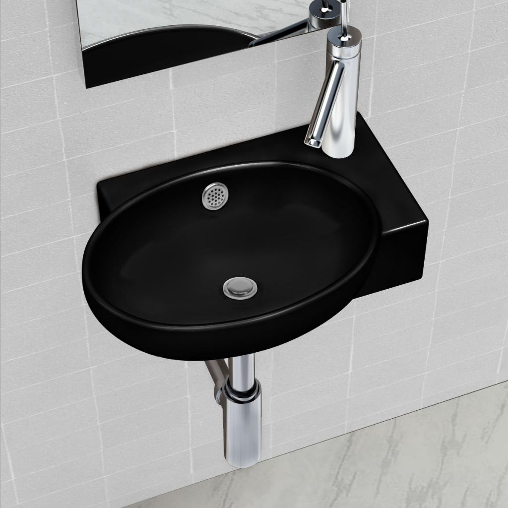 vidaXL Vasque à trou de trop-plein/robinet céramique pour salle bain Noir