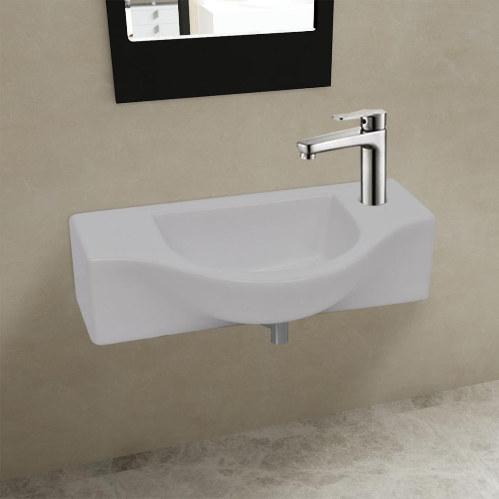 Cacher Trou Carrelage Salle De Bain vidaxl vasque à trou pour robinet céramique blanc salle de bain