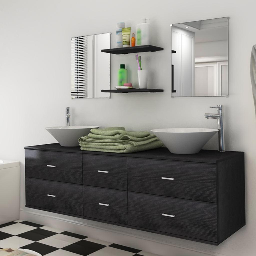 Salle De Bain Meuble Noir ~ vidaxl vidaxl 7 pi ces de mobilier salle bain et lavabo noir