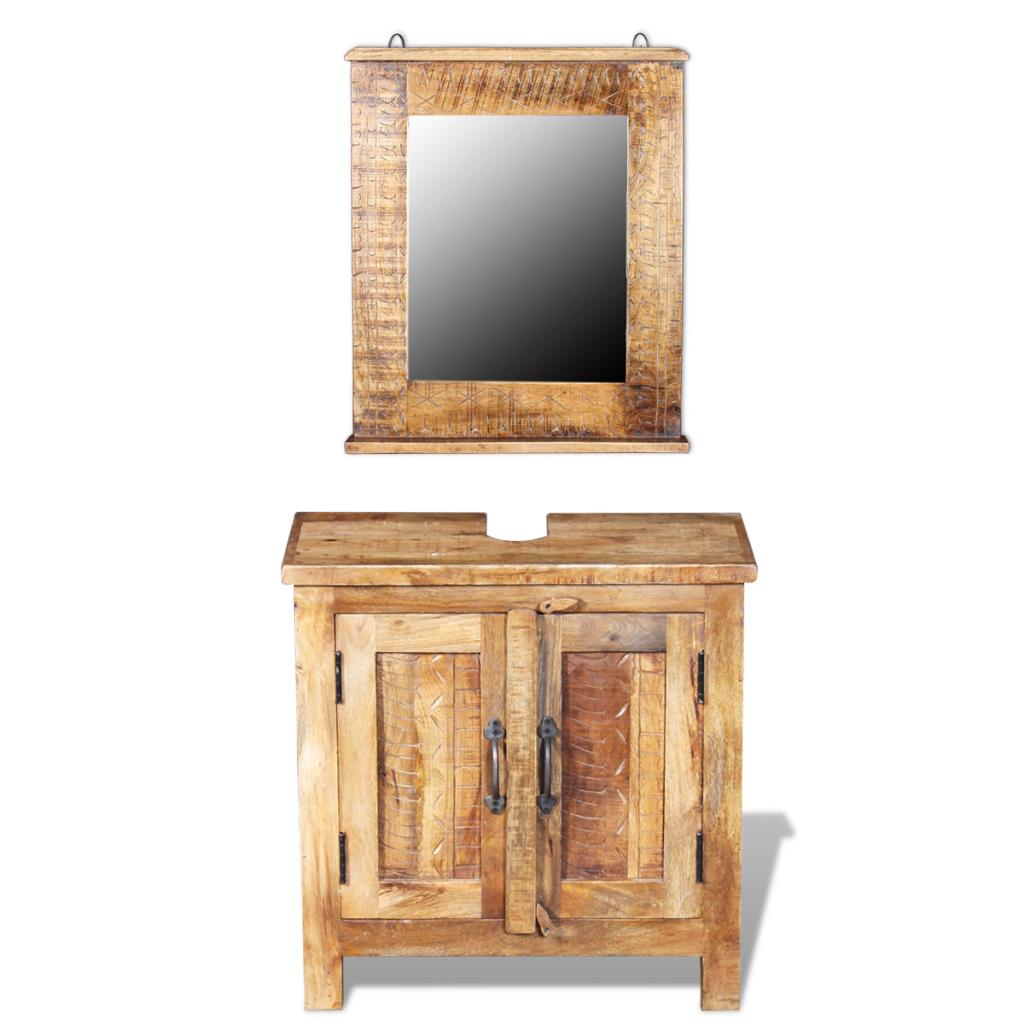 vidaxl vidaxl meuble de salle bain avec miroir bois massif manguier distriartisan. Black Bedroom Furniture Sets. Home Design Ideas