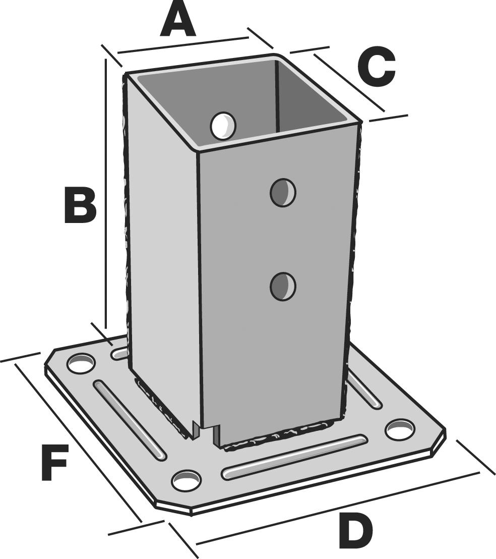 simpson pieds de poteau carr sur platine dimensions au choix distriartisan. Black Bedroom Furniture Sets. Home Design Ideas