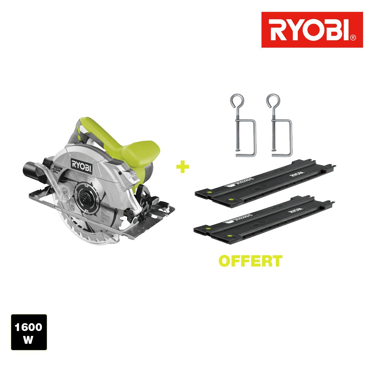 ryobi scie circulaire 1600w 66mm guide de coupe 122 cm 2 serre joints rcs1600 k2b. Black Bedroom Furniture Sets. Home Design Ideas
