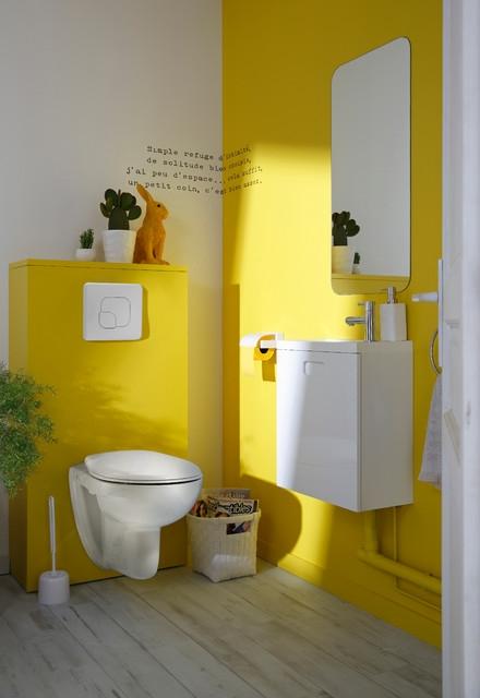 WC suspendu contemporain jaune