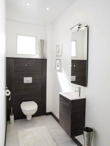 toilettes avec carrelage avec wc suspendu