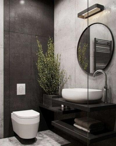 toilettes wc suspendu moderne avec plante verte