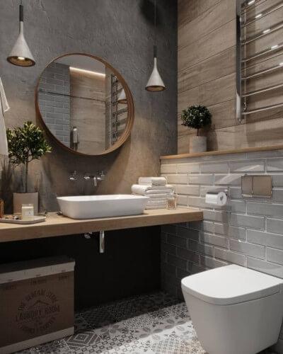 toilettes avec wc suspendu ambiance nature