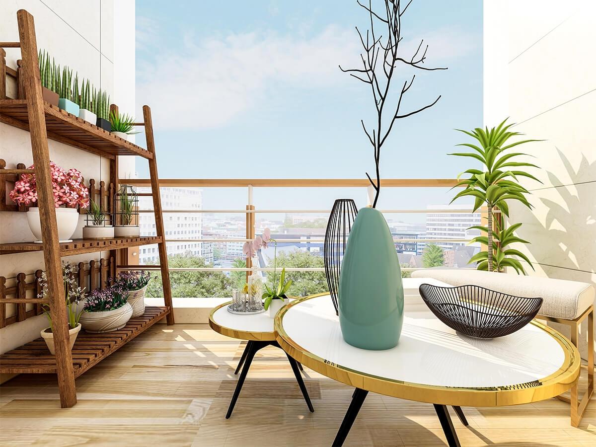 Balcon avec des plantes et fleurs
